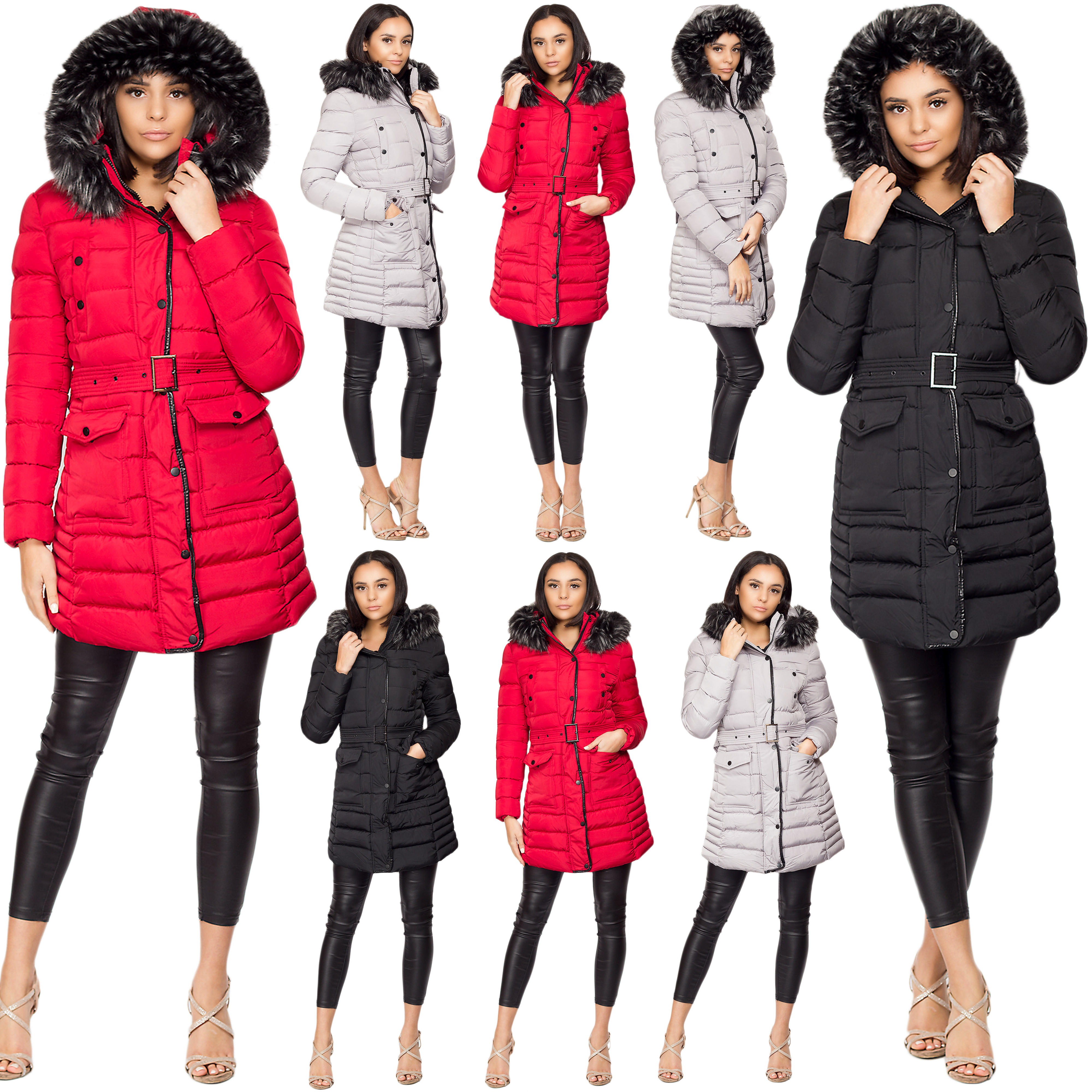 Ladies Women Quilted Puffer Bubble Padded Warm Fur Hood Belted Thick Coat Jacket