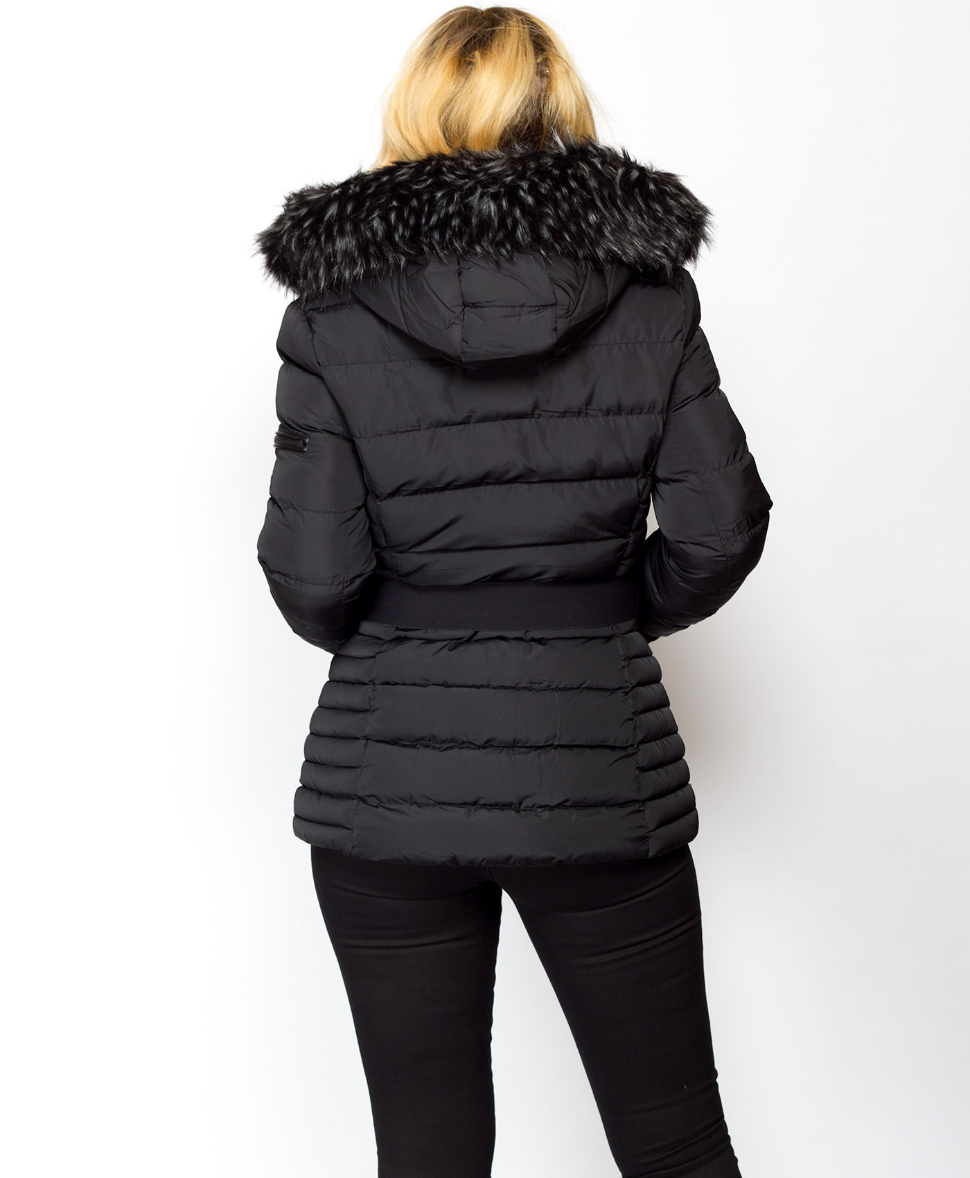 LADIES BLACK CHANNEL QUILTED PADDED PUFFA COAT WITH DETACHABLE FUR COLLAR
